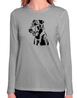 Airedale Terrier Face Special Graphic Long Sleeve T-Shirt-Womens