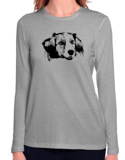 """ Kooikerhondje FACE SPECIAL GRAPHIC "" Long Sleeve T-Shirt-Womens"