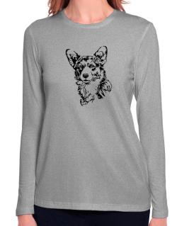 Pembroke Welsh Corgi Face Special Graphic Long Sleeve T-Shirt-Womens