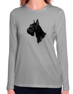 """ Schnauzer FACE SPECIAL GRAPHIC "" Long Sleeve T-Shirt-Womens"