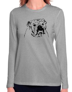 American Bulldog Face Special Graphic Long Sleeve T-Shirt-Womens