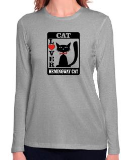 Cat Lover - Hemingway Cat Long Sleeve T-Shirt-Womens