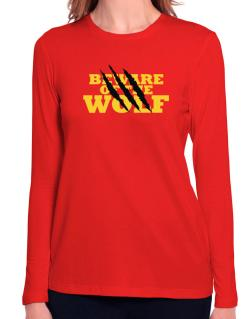 Beware Of The Wolf Long Sleeve T-Shirt-Womens