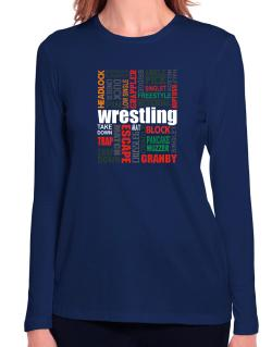 Wrestling Words Long Sleeve T-Shirt-Womens