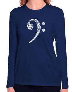 Bass Clef worn style Long Sleeve T-Shirt-Womens