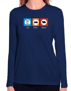Eat sleep Manx Long Sleeve T-Shirt-Womens