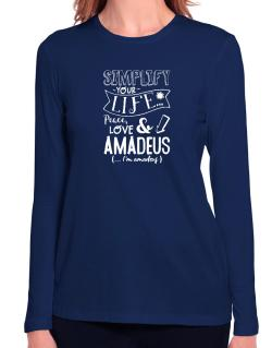Simplify your life: Peace, love and Amadeus Long Sleeve T-Shirt-Womens