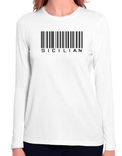 Sicilian Barcode Long Sleeve T-Shirt-Womens
