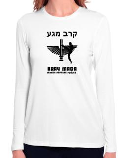 Krav Maga Hebrew Long Sleeve T-Shirt-Womens