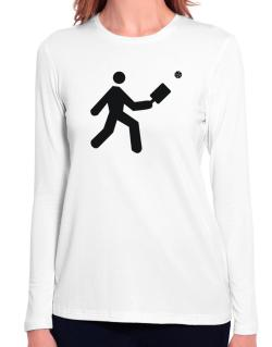 Pickleball Stickman Long Sleeve T-Shirt-Womens