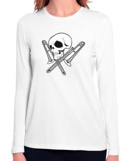 Skull and Trombone Long Sleeve T-Shirt-Womens