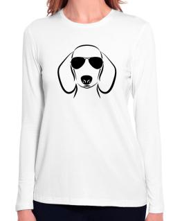 Dachshund Sunglasses Long Sleeve T-Shirt-Womens