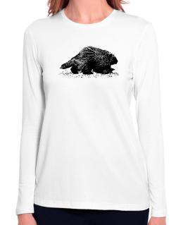 American Porcupine sketch Long Sleeve T-Shirt-Womens