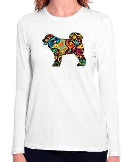 Psychedelic Wetterhoun Long Sleeve T-Shirt-Womens