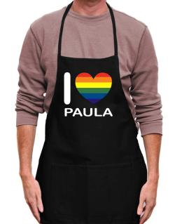I Love Paula - Rainbow Heart Apron