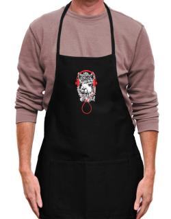 Llama with headphones Apron