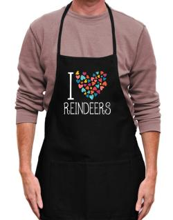 I love Reindeers colorful hearts Apron