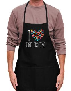 I love Fire Fighting colorful hearts Apron