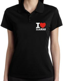 I Love Llamas Polo Shirt-Womens