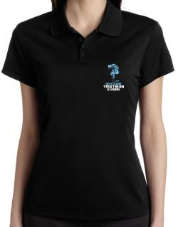 Life Is A Game, Triathlon Is Serious Polo Shirt-Womens