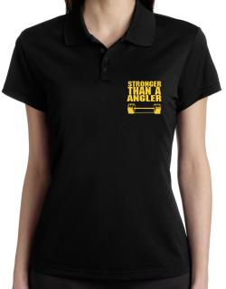 Stronger Than An Angler Polo Shirt-Womens