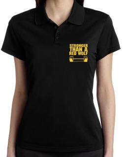 Stronger Than A Red Wolf Polo Shirt-Womens