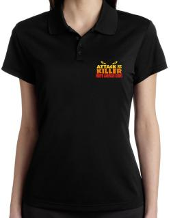 Attack Of The Killer North American Bisons Polo Shirt-Womens