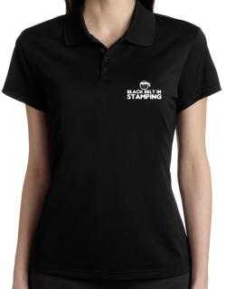 Black Belt In Stamping Polo Shirt-Womens