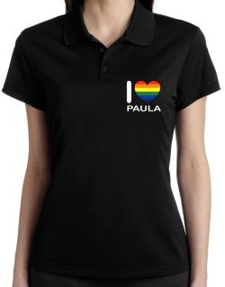 I Love Paula - Rainbow Heart Polo Shirt-Womens