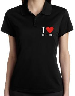 I Love Curling Classic Polo Shirt-Womens