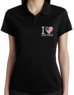 """ I love San Diego - American Flag "" Polo Shirt-Womens"