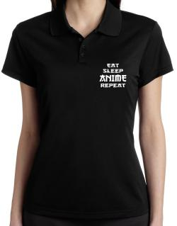 Eat sleep anime repeat Polo Shirt-Womens