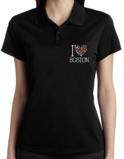 I love Boston colorful hearts Polo Shirt-Womens