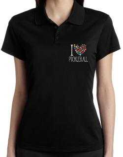 I love Pickleball colorful hearts Polo Shirt-Womens