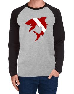 Diver down Shark Scuba Diving Long-sleeve Raglan T-Shirt