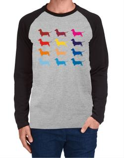 Colorful Dachshund Long-sleeve Raglan T-Shirt