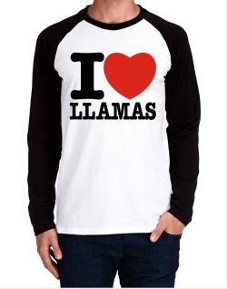 I Love Llamas Long-sleeve Raglan T-Shirt