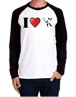 I Love Badminton - Silhouette Long-sleeve Raglan T-Shirt