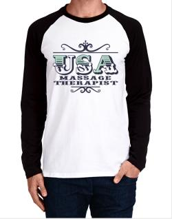 Raglan Manga Larga de Usa Massage Therapist