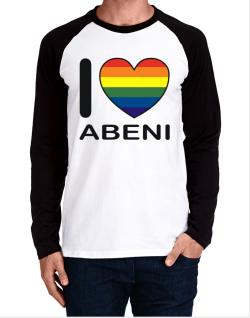 I Love Abeni - Rainbow Heart Long-sleeve Raglan T-Shirt
