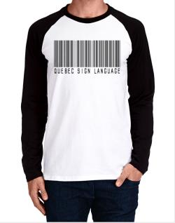 Quebec Sign Language Barcode Long-sleeve Raglan T-Shirt