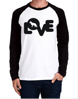 Love Silhouette German Shepherd Long-sleeve Raglan T-Shirt