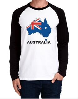 Australia - Country Map Color Long-sleeve Raglan T-Shirt
