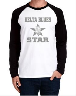 Delta Blues Star - Microphone Long-sleeve Raglan T-Shirt