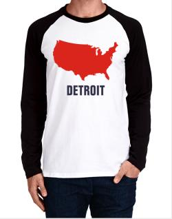 Detroit - Usa Map Long-sleeve Raglan T-Shirt