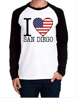 """ I love San Diego - American Flag "" Long-sleeve Raglan T-Shirt"
