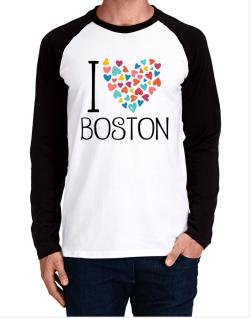 I love Boston colorful hearts Long-sleeve Raglan T-Shirt