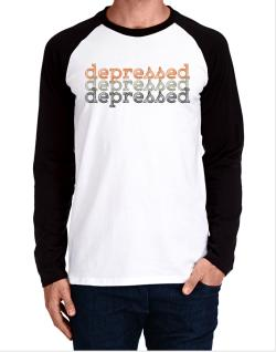 depressed repeat retro Long-sleeve Raglan T-Shirt