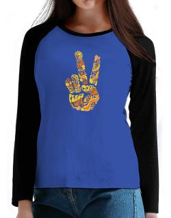 Peace Sign - Hand Collage T-Shirt - Raglan Long Sleeve-Womens