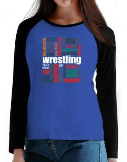Wrestling Words T-Shirt - Raglan Long Sleeve-Womens
